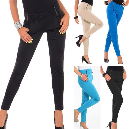Hot Women Stretch Trousers Zipper Decoration Skinny Slim Pencil Pants Leggings BlueApparel &amp; Jewelry<br>Hot Women Stretch Trousers Zipper Decoration Skinny Slim Pencil Pants Leggings Blue<br>