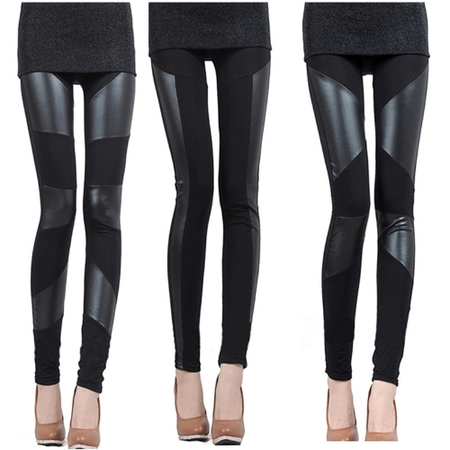 All Match Womens PU Leather Splicing Stretchy LeggingsApparel &amp; Jewelry<br>All Match Womens PU Leather Splicing Stretchy Leggings<br>