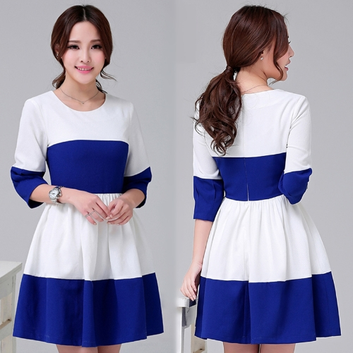 Fashion Women Sweet Dress Color Block Patchwork 3/4 Sleeve Elegant Dress BlueApparel &amp; Jewelry<br>Fashion Women Sweet Dress Color Block Patchwork 3/4 Sleeve Elegant Dress Blue<br>