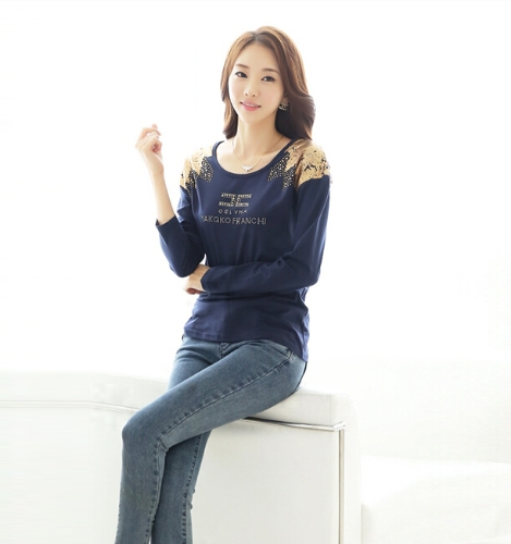 Fashion Women T-Shirt Print Shoulder Hot Drilling Round Neck Long Sleeves Casual Tops Dark BlueApparel &amp; Jewelry<br>Fashion Women T-Shirt Print Shoulder Hot Drilling Round Neck Long Sleeves Casual Tops Dark Blue<br>