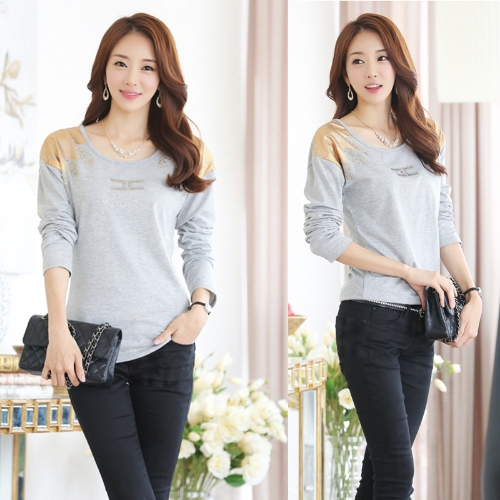 Fashion Women T-Shirt Print Shoulder Hot Drilling Round Neck Long Sleeves Casual Tops GrayApparel &amp; Jewelry<br>Fashion Women T-Shirt Print Shoulder Hot Drilling Round Neck Long Sleeves Casual Tops Gray<br>