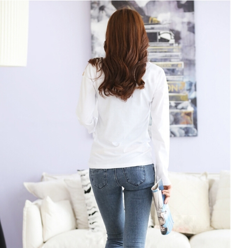 Fashion Women T-Shirt Print Shoulder Hot Drilling Crew Neck Long Sleeves Casual Tops WhiteApparel &amp; Jewelry<br>Fashion Women T-Shirt Print Shoulder Hot Drilling Crew Neck Long Sleeves Casual Tops White<br>