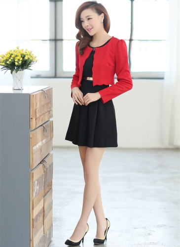 New Fashion Women Two pieces Vest Dress and Short Coat Pleated A-Line Mini Dress Twin Sets Black Dress and Red CoatApparel &amp; Jewelry<br>New Fashion Women Two pieces Vest Dress and Short Coat Pleated A-Line Mini Dress Twin Sets Black Dress and Red Coat<br>