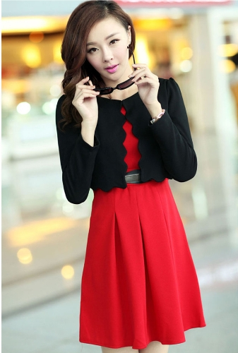 New Fashion Women Two pieces Vest Dress and Short Coat Pleated A-Line Mini Dress Twin Sets Red Dress and Black CoatApparel &amp; Jewelry<br>New Fashion Women Two pieces Vest Dress and Short Coat Pleated A-Line Mini Dress Twin Sets Red Dress and Black Coat<br>