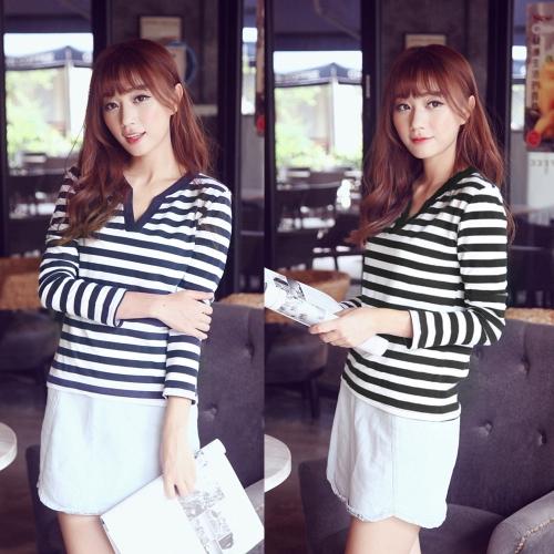 New Fashion Women Casual T-Shirt Stripe Long Sleeve V Neck Slim Tops BlackApparel &amp; Jewelry<br>New Fashion Women Casual T-Shirt Stripe Long Sleeve V Neck Slim Tops Black<br>