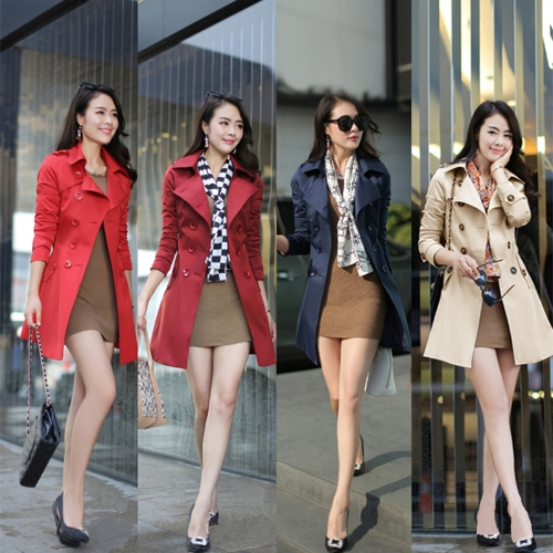 New Fashion Women Long Coat Double Breasted Belted Waist Turn-Down Collar Trench Coat Outerwear Dark BlueApparel &amp; Jewelry<br>New Fashion Women Long Coat Double Breasted Belted Waist Turn-Down Collar Trench Coat Outerwear Dark Blue<br>