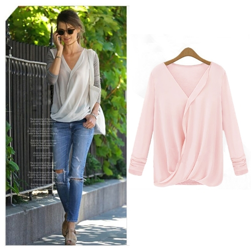 New Style Women Blouse Chiffon Patchwork Wrap Front V Neck Long Sleeve Sexy Loose Tops PinkApparel &amp; Jewelry<br>New Style Women Blouse Chiffon Patchwork Wrap Front V Neck Long Sleeve Sexy Loose Tops Pink<br>