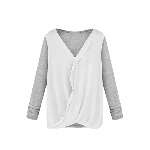 New Style Women Blouse Chiffon Patchwork Wrap Front V Neck Long Sleeve Sexy Loose Tops WhiteApparel &amp; Jewelry<br>New Style Women Blouse Chiffon Patchwork Wrap Front V Neck Long Sleeve Sexy Loose Tops White<br>