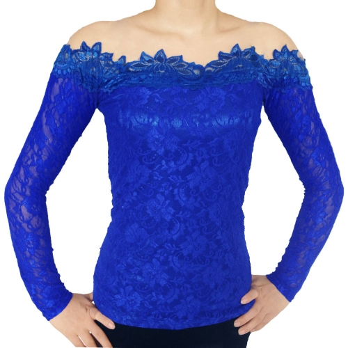 New Fashion Women Sexy Blouse Mesh Shoulder Long Sleeves Floral Lace Basic Shirt Tops BlueApparel &amp; Jewelry<br>New Fashion Women Sexy Blouse Mesh Shoulder Long Sleeves Floral Lace Basic Shirt Tops Blue<br>