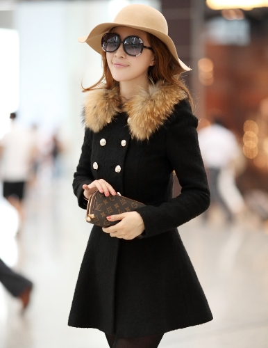 New Fashion Women Coat Double Breasted Faux Fur Collar Long Sleeve Elegant Warm Outerwear BlackApparel &amp; Jewelry<br>New Fashion Women Coat Double Breasted Faux Fur Collar Long Sleeve Elegant Warm Outerwear Black<br>