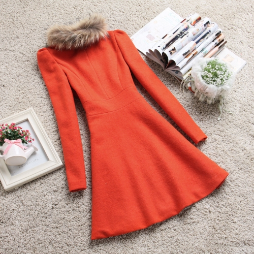 New Fashion Women Coat Double Breasted Faux Fur Collar Long Sleeve Elegant Warm Outerwear OrangeApparel &amp; Jewelry<br>New Fashion Women Coat Double Breasted Faux Fur Collar Long Sleeve Elegant Warm Outerwear Orange<br>