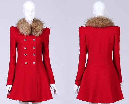 New Fashion Women Coat Double Breasted Faux Fur Collar Long Sleeve Elegant Warm Outerwear RedApparel &amp; Jewelry<br>New Fashion Women Coat Double Breasted Faux Fur Collar Long Sleeve Elegant Warm Outerwear Red<br>