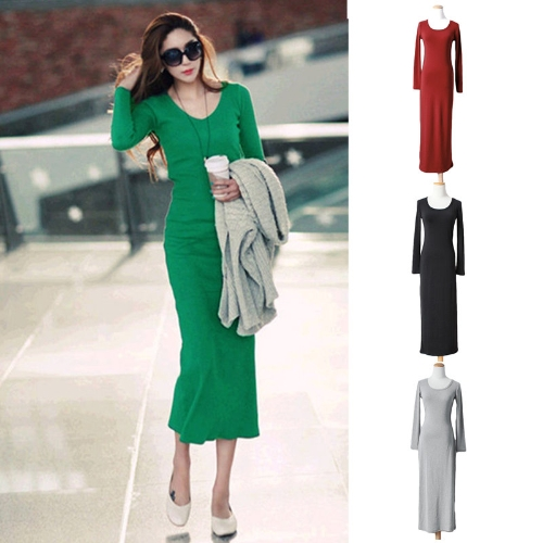 Korean Fashion Women Maxi Dress Mid-Calf Long Sleeve Pure Color Knitted Long DressApparel &amp; Jewelry<br>Korean Fashion Women Maxi Dress Mid-Calf Long Sleeve Pure Color Knitted Long Dress<br>