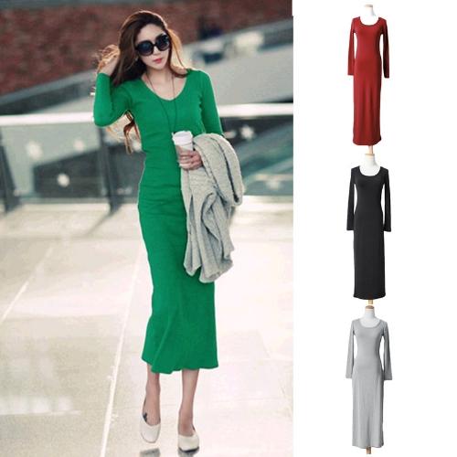 Korean Fashion Women Maxi Dress Mid-Calf Long Sleeve Pure Color Knitted Long DressApparel &amp; Jewelry<br>Korean Fashion Women Maxi Dress Mid-Calf Long Sleeve Pure Color Knitted Long Dress<br>