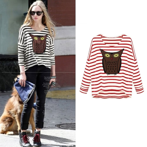 New Fashion Women T-Shirt Owl Pattern Stripe Crew Neck Batwing Long Sleeve Casual Top BlouseApparel &amp; Jewelry<br>New Fashion Women T-Shirt Owl Pattern Stripe Crew Neck Batwing Long Sleeve Casual Top Blouse<br>