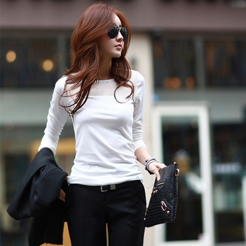 New Fashion Korean Women T-Shirt Mesh Patchwork Crew Neck Long Sleeve Casual TopApparel &amp; Jewelry<br>New Fashion Korean Women T-Shirt Mesh Patchwork Crew Neck Long Sleeve Casual Top<br>