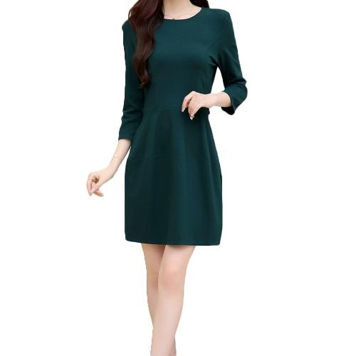 New Fashion Women Dress Bead Zip Back O-Neck Three Quarter Sleeve Slim Elegant DressApparel &amp; Jewelry<br>New Fashion Women Dress Bead Zip Back O-Neck Three Quarter Sleeve Slim Elegant Dress<br>