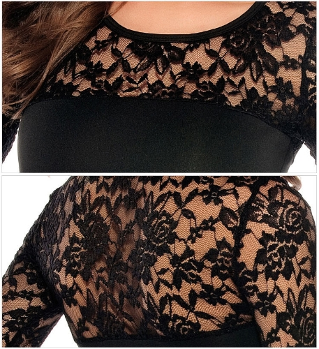 Sexy Bodycon Women Dress Floral Lace Patchwork Crew Neck Long Sleeve Cocktail Evening Dress Stretch ClubwearApparel &amp; Jewelry<br>Sexy Bodycon Women Dress Floral Lace Patchwork Crew Neck Long Sleeve Cocktail Evening Dress Stretch Clubwear<br>