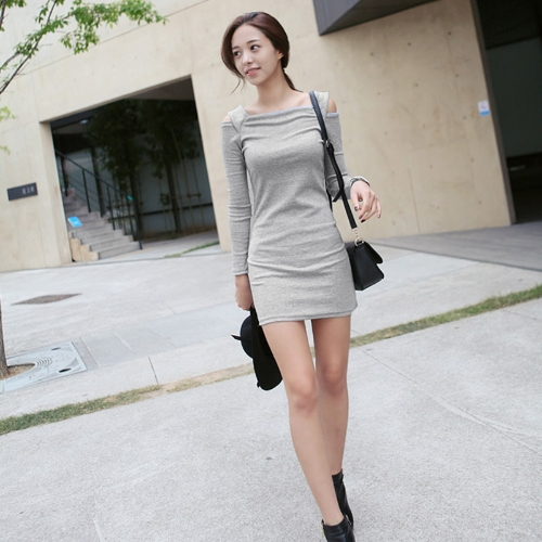 Korean Fashion Women Dress Open Shoulder Square Neck Long Sleeve Sexy Slim Party Mini DressApparel &amp; Jewelry<br>Korean Fashion Women Dress Open Shoulder Square Neck Long Sleeve Sexy Slim Party Mini Dress<br>