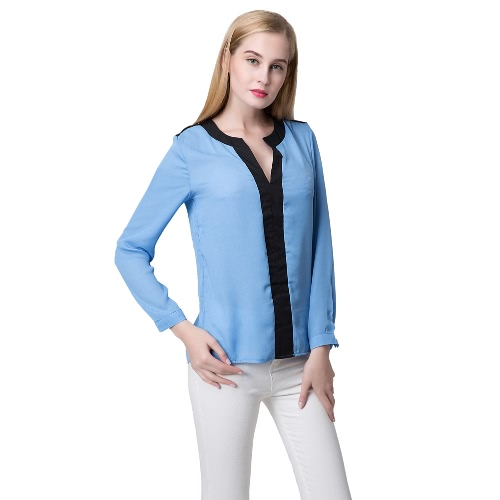 Fashion Contrast V Neck Long Sleeve Chiffon Blouse for WomenApparel &amp; Jewelry<br>Fashion Contrast V Neck Long Sleeve Chiffon Blouse for Women<br>