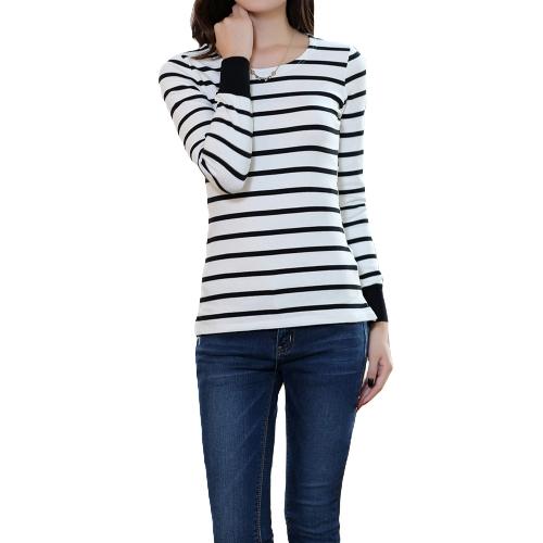 New Fashion Women T-shirt Striped Splits Crew Neck Long Sleeve Casual Slim Bottoming ShirtApparel &amp; Jewelry<br>New Fashion Women T-shirt Striped Splits Crew Neck Long Sleeve Casual Slim Bottoming Shirt<br>