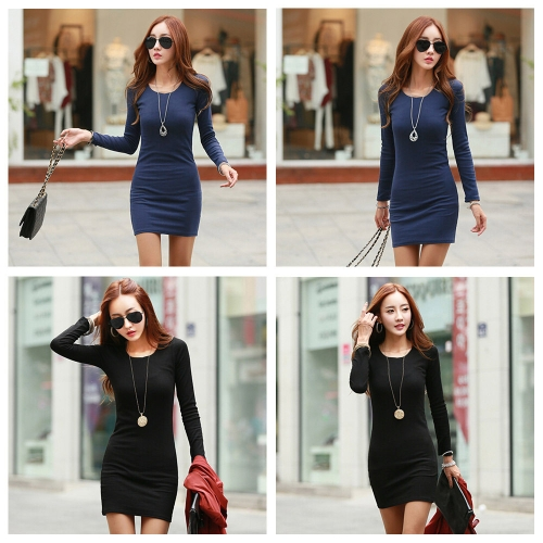 New Fashion Women Dress Crew Neck Long Sleeve Solid Color Casual Slim Mini DressApparel &amp; Jewelry<br>New Fashion Women Dress Crew Neck Long Sleeve Solid Color Casual Slim Mini Dress<br>