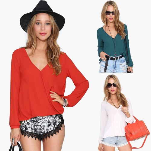 New Fashion Women Chiffon Blouse Sexy V Neck Wrap Front Long Sleeve Casual Shirt TopsApparel &amp; Jewelry<br>New Fashion Women Chiffon Blouse Sexy V Neck Wrap Front Long Sleeve Casual Shirt Tops<br>