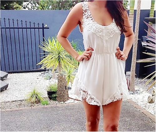 Fashion Women Chiffon Rompers Lace Floral Front Button Elastic Waist Sleeveless Beach Dress JumpsuitApparel &amp; Jewelry<br>Fashion Women Chiffon Rompers Lace Floral Front Button Elastic Waist Sleeveless Beach Dress Jumpsuit<br>