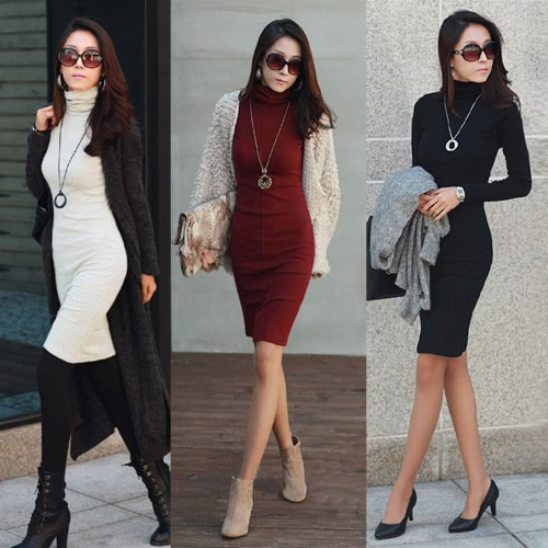 New Korean Women Dress Turtle Neck Long Sleeve Split Design Slim OL Lady Bodycon Knit DressApparel &amp; Jewelry<br>New Korean Women Dress Turtle Neck Long Sleeve Split Design Slim OL Lady Bodycon Knit Dress<br>