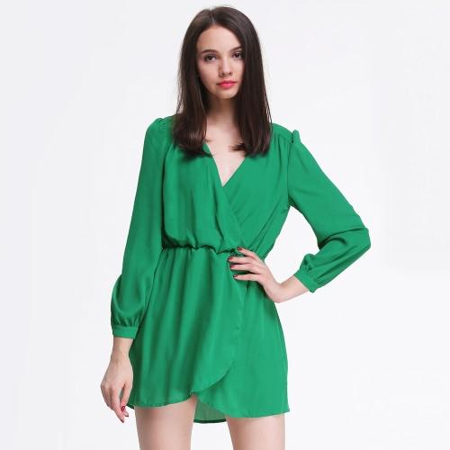 Nouvelles femmes Sexy en mousseline de soie robe V cou Wrap avant ourlet irrégulier manches longues Party robe de Cocktail