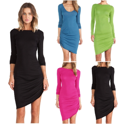 New Fashion Women Bodycon Dress Candy Color Scoop Neck Long Sleeve Asymmetric DressApparel &amp; Jewelry<br>New Fashion Women Bodycon Dress Candy Color Scoop Neck Long Sleeve Asymmetric Dress<br>