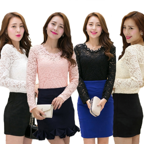 Fashion Women Lady Slim T-shirt Floral Lace Bead Crew Neck Long Sleeves Blouse TopsApparel &amp; Jewelry<br>Fashion Women Lady Slim T-shirt Floral Lace Bead Crew Neck Long Sleeves Blouse Tops<br>