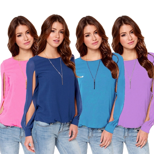 New Fashion Women Blouse Chiffon Hollow Out Solid Crew Neck Long Sleeve Loose Sexy TopsApparel &amp; Jewelry<br>New Fashion Women Blouse Chiffon Hollow Out Solid Crew Neck Long Sleeve Loose Sexy Tops<br>