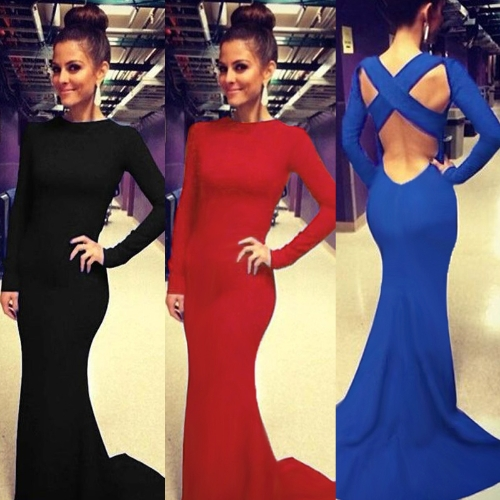 Sexy Women Dress Criss Cross Backless Floor-length Maxi Gown Evening Party Dress Black/Blue/RedApparel &amp; Jewelry<br>Sexy Women Dress Criss Cross Backless Floor-length Maxi Gown Evening Party Dress Black/Blue/Red<br>