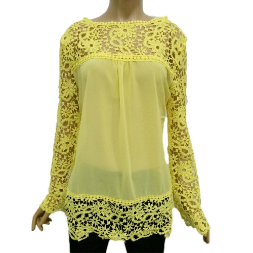 New Fashion Women Chiffon Blouse Lace Crochet Embroidery Sheer Sleeve Tee Tops Shirt White/Blue/YellowApparel &amp; Jewelry<br>New Fashion Women Chiffon Blouse Lace Crochet Embroidery Sheer Sleeve Tee Tops Shirt White/Blue/Yellow<br>