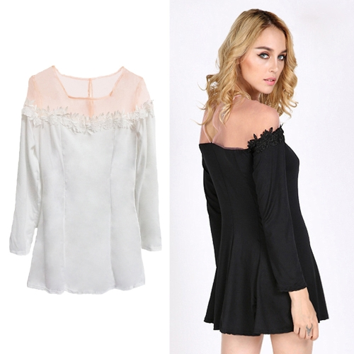 Sexy Women Mini Dress Crochet Lace Sheer Mesh Shoulder Patchwork Zip Back Crew Neck Long Sleeve Dress Black/WhiteApparel &amp; Jewelry<br>Sexy Women Mini Dress Crochet Lace Sheer Mesh Shoulder Patchwork Zip Back Crew Neck Long Sleeve Dress Black/White<br>