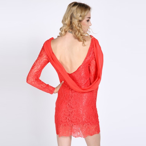 Sexy Europe Women Lace Dress Backless Chiffon Patchwork Crew Neck Long Sleeve Party Evening Slim Dress Black/RedApparel &amp; Jewelry<br>Sexy Europe Women Lace Dress Backless Chiffon Patchwork Crew Neck Long Sleeve Party Evening Slim Dress Black/Red<br>
