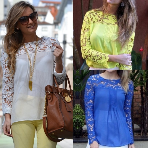 New Fashion Women Chiffon Blouse Lace Crochet Embroidery Sheer Sleeve Oversized Tee Tops ShirtApparel &amp; Jewelry<br>New Fashion Women Chiffon Blouse Lace Crochet Embroidery Sheer Sleeve Oversized Tee Tops Shirt<br>