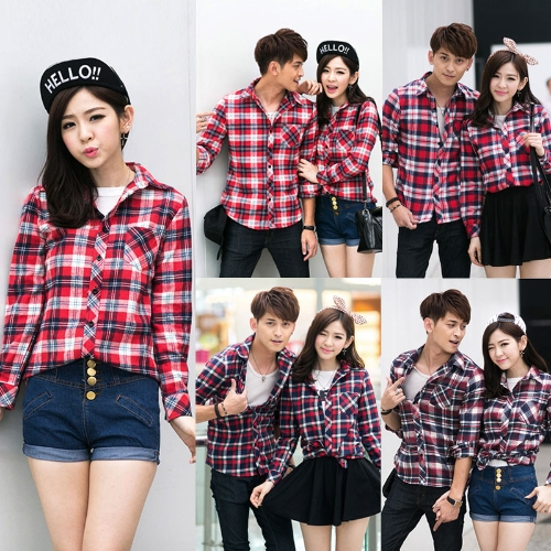 Korean Fashion Women Shirt Plaid Check Pattern Turn-down Collar Long Sleeve Pocket Casual Tops for CoupleApparel &amp; Jewelry<br>Korean Fashion Women Shirt Plaid Check Pattern Turn-down Collar Long Sleeve Pocket Casual Tops for Couple<br>