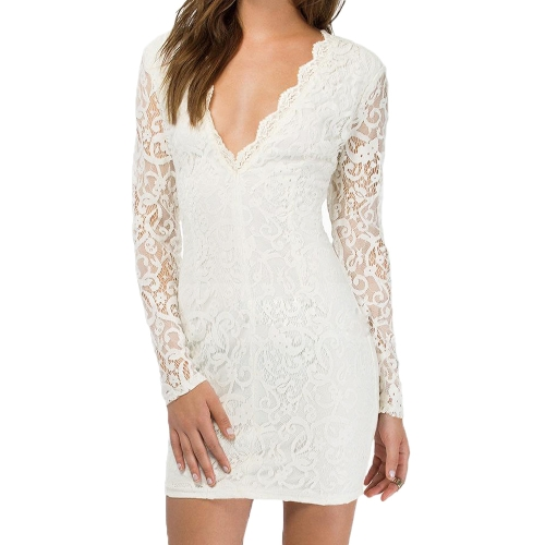 Sexy Women Lace Dress Plunge V Neck Zip Backless Long Sleeve Cocktail Party Mini Dress Black/Burgundy/WhiteApparel &amp; Jewelry<br>Sexy Women Lace Dress Plunge V Neck Zip Backless Long Sleeve Cocktail Party Mini Dress Black/Burgundy/White<br>