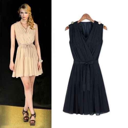 Fashion Women Pleated Chiffon Dress V-Neck Sleeveless Elegant Mini Dress Beige/Dark BlueApparel &amp; Jewelry<br>Fashion Women Pleated Chiffon Dress V-Neck Sleeveless Elegant Mini Dress Beige/Dark Blue<br>