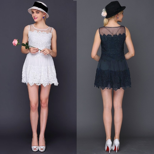 New Fashion Women Lace Dress Crochet Patchwork Mesh Round Neck Sleeveless Sweet Slim Mini Dress White/Dark BlueApparel &amp; Jewelry<br>New Fashion Women Lace Dress Crochet Patchwork Mesh Round Neck Sleeveless Sweet Slim Mini Dress White/Dark Blue<br>