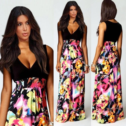 Fashion Women Summer Dress Floral Print Sexy V Neck Sleeveless Maxi Dress BlackApparel &amp; Jewelry<br>Fashion Women Summer Dress Floral Print Sexy V Neck Sleeveless Maxi Dress Black<br>