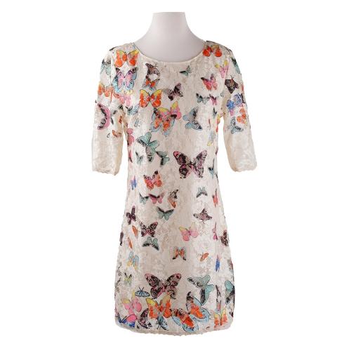 New Europe Women Dress Colorful Butterfly Print Half Sleeve Elegant Mini Dress White/BeigeApparel &amp; Jewelry<br>New Europe Women Dress Colorful Butterfly Print Half Sleeve Elegant Mini Dress White/Beige<br>