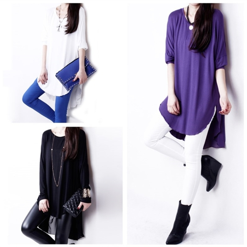 Fashion Women T-Shirt Chiffon Patchwork Asymmetric Hem Crew Neck Batwing Sleeve Loose Top Black/White/PurpleApparel &amp; Jewelry<br>Fashion Women T-Shirt Chiffon Patchwork Asymmetric Hem Crew Neck Batwing Sleeve Loose Top Black/White/Purple<br>