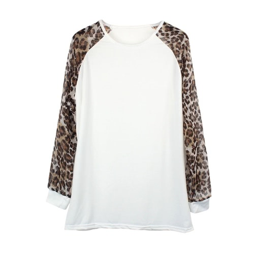 New Fashion Women Casual T-Shirt Chiffon Long Leopard Sleeve Crew Neck Loose Blouse Top WhiteApparel &amp; Jewelry<br>New Fashion Women Casual T-Shirt Chiffon Long Leopard Sleeve Crew Neck Loose Blouse Top White<br>