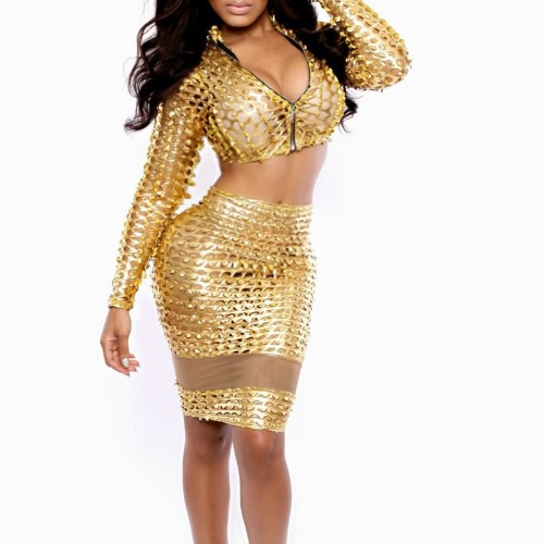 Sexy Women Two Pieces Metallic Turtle Neck Zip Crop Top High Waist Mesh Skirt Bodycon Clubwear Gold/SilverApparel &amp; Jewelry<br>Sexy Women Two Pieces Metallic Turtle Neck Zip Crop Top High Waist Mesh Skirt Bodycon Clubwear Gold/Silver<br>
