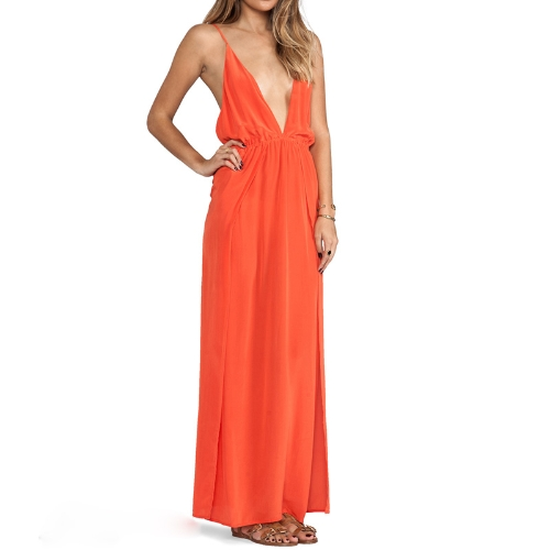 New Sexy Women Maxi Chiffon Dress Cross Spaghetti Strap Deep V-Neck Side Split Clubwear Party DressApparel &amp; Jewelry<br>New Sexy Women Maxi Chiffon Dress Cross Spaghetti Strap Deep V-Neck Side Split Clubwear Party Dress<br>