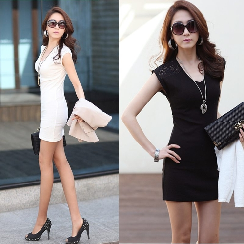 Korean Fashion Women Mini Dress Sleeveless Lace Splicing Clubwear Bodycon Vest Dress Black/WhiteApparel &amp; Jewelry<br>Korean Fashion Women Mini Dress Sleeveless Lace Splicing Clubwear Bodycon Vest Dress Black/White<br>