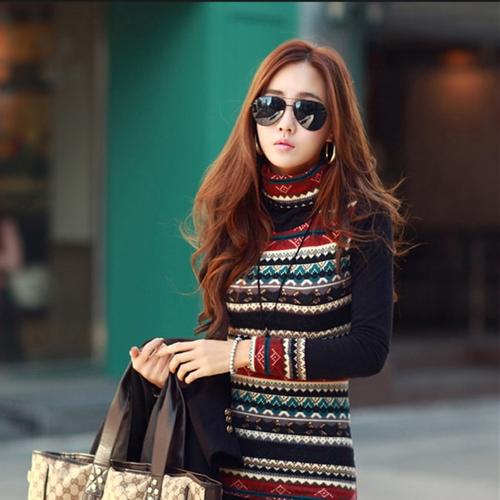 New Korean Fashion Women T-shirt Retro Print Turtle Neck Long Sleeve Thickened Basic Shirt TopsApparel &amp; Jewelry<br>New Korean Fashion Women T-shirt Retro Print Turtle Neck Long Sleeve Thickened Basic Shirt Tops<br>